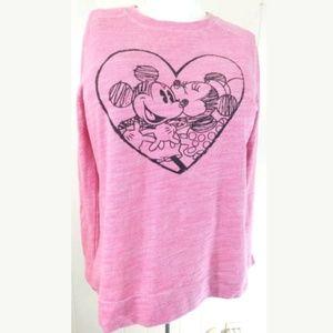 Disney Parks Mickey and Minnie Heart Sweatshirt